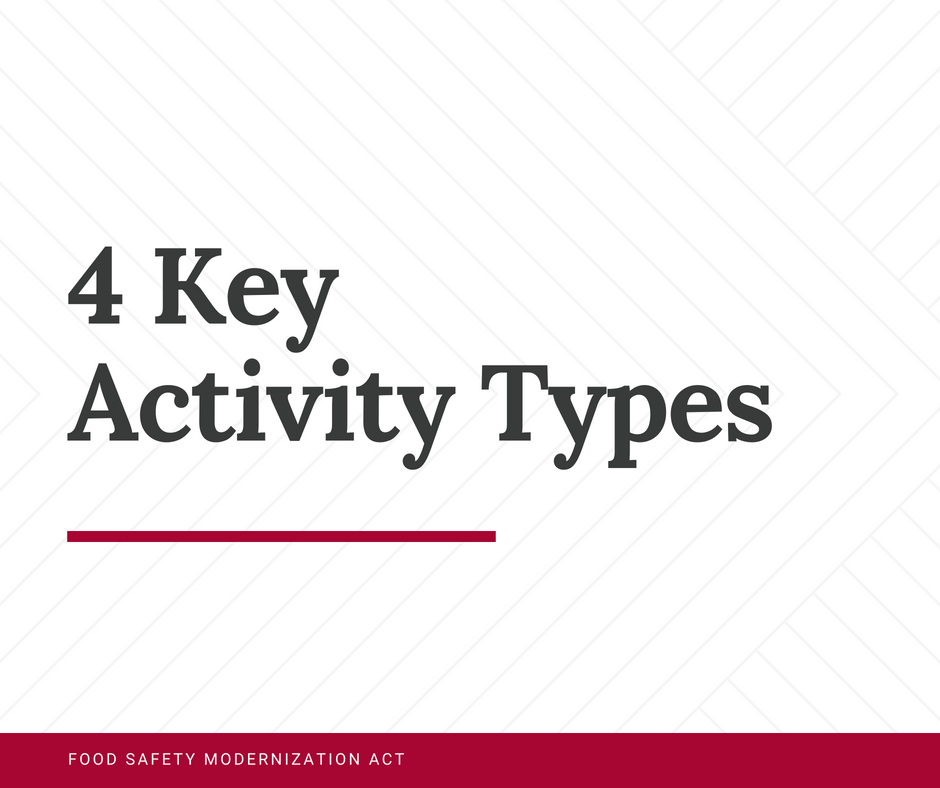 Tip of the Week: What do I need to know about the 4 key activity types the FDA identified in FSMA?